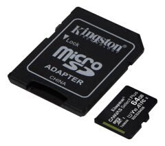 MicroSD  64GB  Kingston Class 10 Canvas Select Plus A1 (100 Mb/s) + SD адаптер