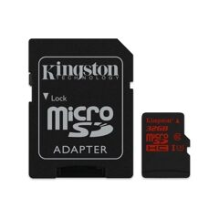 MicroSD  32GB  Kingston Class 10 Canvas Go UHS-I U3 V30 (90/45 Mb/s) + SD адаптер