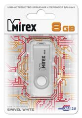 USB  8GB  Mirex  SWIVEL  белый  (ecopack)