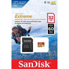 Карта памяти MicroSD  128GB  SanDisk Class 10 Extreme Action Cameras/Drones A2 V30 UHS-I U3 (160 Mb/s) + SD адаптер