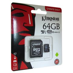 MicroSD  64GB  Kingston Class 10 Canvas Select UHS-I U1 (80 Mb/s) + SD адаптер
