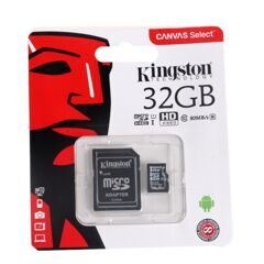 MicroSD  32GB  Kingston Class 10 Canvas Select UHS-I U1 (80 Mb/s) + SD адаптер